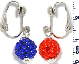 Rhinestone Earrings Clip On Disco Ball Blue Orange Ger1375