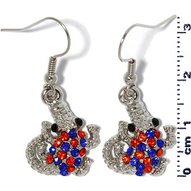 Rhinestone Earrings small Gator Silver Orange Blue Ger1379