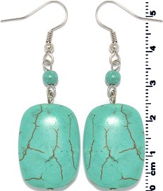 Earth Stone Earrings Rectangle Turquoise Ger1405