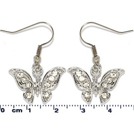 Rhinestone Earrings Butterfly Silver Ger1462