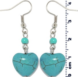Earth Stone Earrings Heart Teal Ger1464