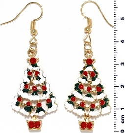 Christmas Earrings Gold Tone Tree Red White Green Ger1465
