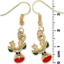 Christmas Earrings Gold Tone Reindeer Head Green Red Ger1470