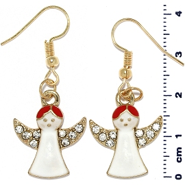 Christmas Earrings Gold Tone Angel Rhinestone White Red Ger1472