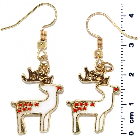 Christmas Earrings Gold Tone Reindeer White Red Ger1473