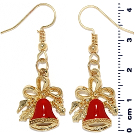 Christmas Earrings Gold Tone Bow Bell Red Ger1474