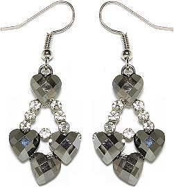Obsidian Rhinestone Earrings Heart Silver Ger1672