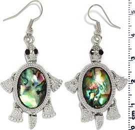 Abalone Earrings Turtle Silver Green Purple Ger1684