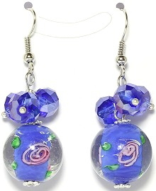 Glass Crystal Bead Earrings Rose Blue Ger1686