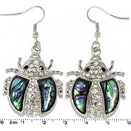 Abalone Earrings Rhinestone Lady Bug Silver Green Ger1733
