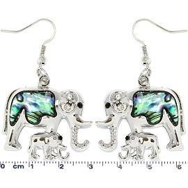 Abalone Earrings Rhinestone Elephant Silver Green Ger1735
