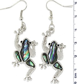Abalone Earrings Rhinestone Frog Silver Green Ger1738