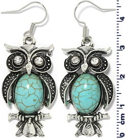 Turquoise Earring Owl Ger1751