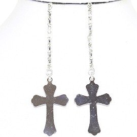 Earrings Cross Hanging Silver Ger1771