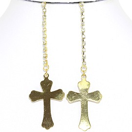 Earrings Cross Hanging Gold Ger1772