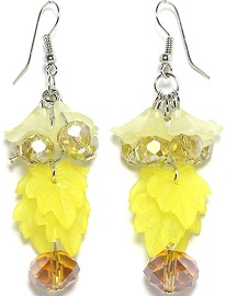 Crystal Earrings Flower Yellow Ger1932