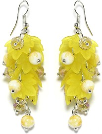 Crystal Earrings Leaves Beads Yellow Ger2042