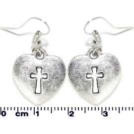 Earring Silver Cross Heart Ger2111