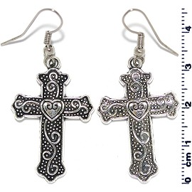 Obsidian Earrings Cross Crystals Black Silver Ger211