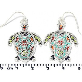 Sea Turtle Earrings Multi Colored Turquoise Silver Ger2194