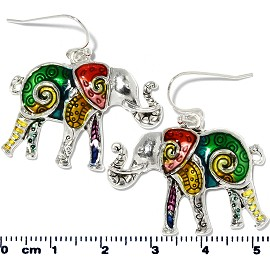 Elephant Earrings Multi Colored Green Yellow Red Silver Ger2195