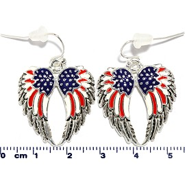 US Flag Angel Wings Earrings Red White Blue Silver Ger2204