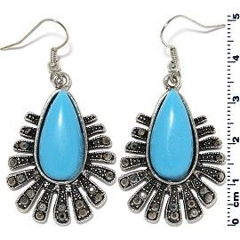 Tear Oval Flower Earrings Turquoise Gray Ger22101