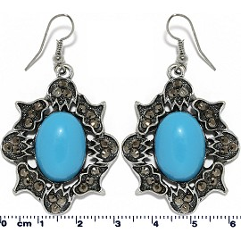 Oval Earrings Turquoise Gray Ger22102