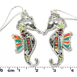 Seahorse Earrings Multi Color Silver Orange Turquoise Ger2222