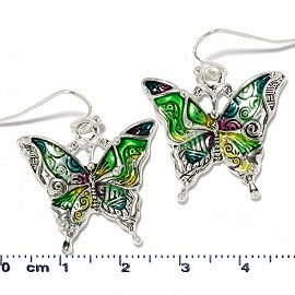 Butterfly Earrings Multi Color Green Yellow Silver Ger2223