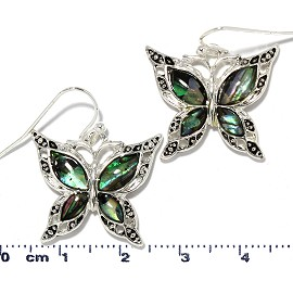 Butterfly Abalone Earrings Green Silver Tone Ger2225