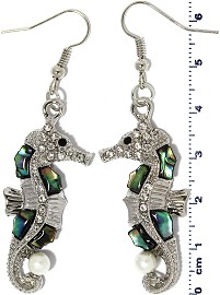 Seahorse Abalone Rhinestone Earrings Green Silver Tone Ger2226