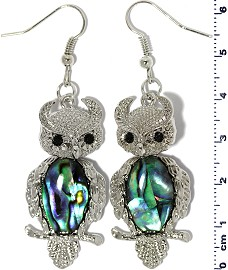 Owl Abalone Earrings Wobble Neck Silver Tone Ger2229