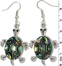 Sea Turtle Abalone Earrings Green Silver Tone Ger2230