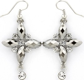 Silver Earrings Cross Crystals Ger236