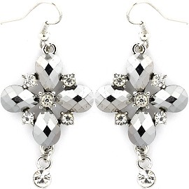 Silver Earrings Cross Crystals Ger238