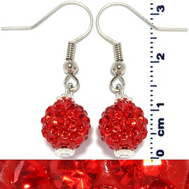Rhinestone Ball Earrings Red Ger240