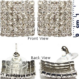 Rhinestone Covered Stud Earrings Square Silver Ger252