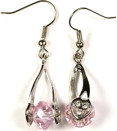 Crystal Earrings Heart Pink Ger275