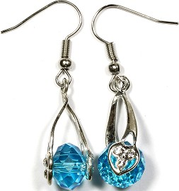 Crystal Earrings Heart Aqua Ger306