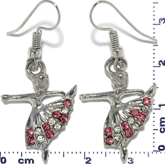 Ballerina Dress Rhinestone Earrings Metallic Tone Pink Ger320