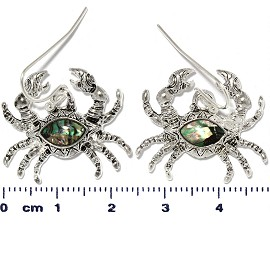 Sea Crab Abalone Earrings Green Silver Tone Ger357