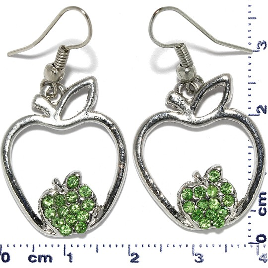 Apple Rhinestone Earrings Metallic Tone Green Ger365
