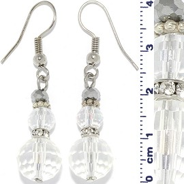 1 Pair Snowman Earrings Crystal Cut Round Beads Clear Ger366