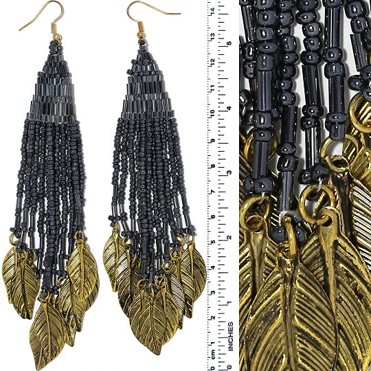 Indian Earrings Feather Bead Tube Dark Gray Gold Tone Ger372