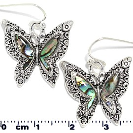 Abalone Earrings Butterfly Black Metallic Silver Tone Ger373