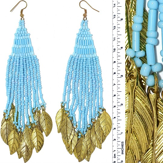 Indian Earrings Feather Bead Tube Turquoise Gold Tone Ger374