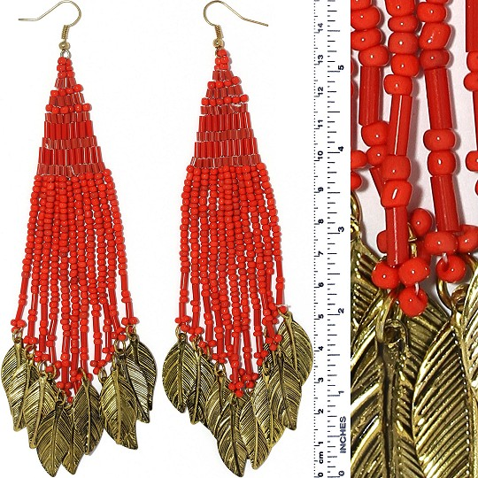 Indian Earrings Feather Bead Tube Red Gold Tone Ger381