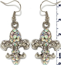 Fleur De Lis Rhinestone Flower Earrings Aura Silver Ger398