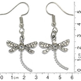 Dragonfly Rhinestone Earrings White Silver Tone Ger399